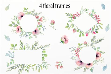 design elements watercolor watercolor floral design elements by la design bundles