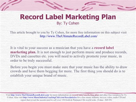 record label business plan template free record label marketing plan