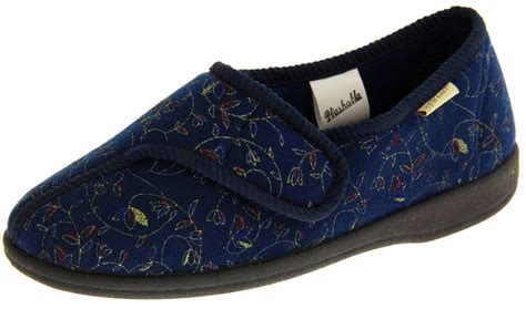 womens dunlop slippers new womens dunlop navy blue orthopaedic velcro