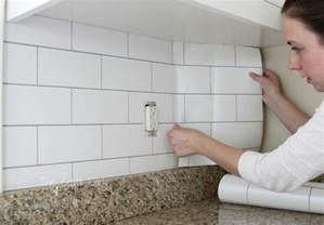 white subway tile temporary backsplash the tutorial