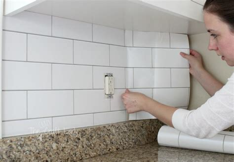 Diy Tile Backsplash Kitchen white subway tile temporary backsplash the full tutorial