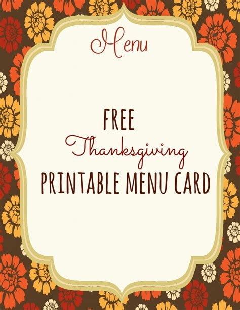 thanksgiving menu templates free free thanksgiving printables frugal fanatic