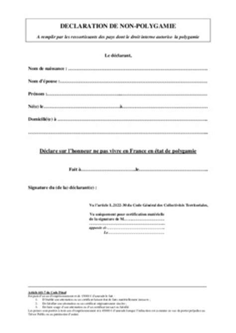 Lettre De Demande De Visa Longue Durée Exemple Attestation De Non Polygamie