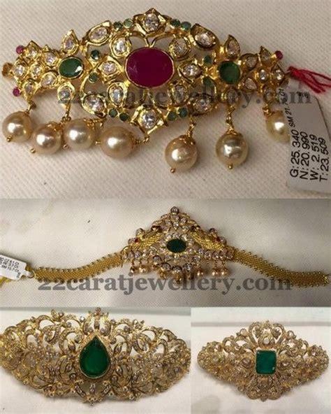 Bajuband Choker jewellery designs below 30 grams bajuband choker vanki choker jewellery