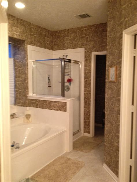 master bathroom wallpaper  vinyl paint sand color