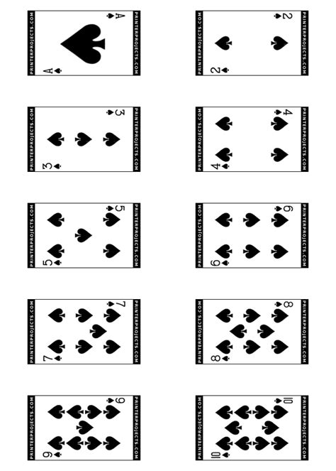 deck of cards template pdf spades