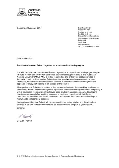 Recommendation Letter For Science Anu Reference Letter
