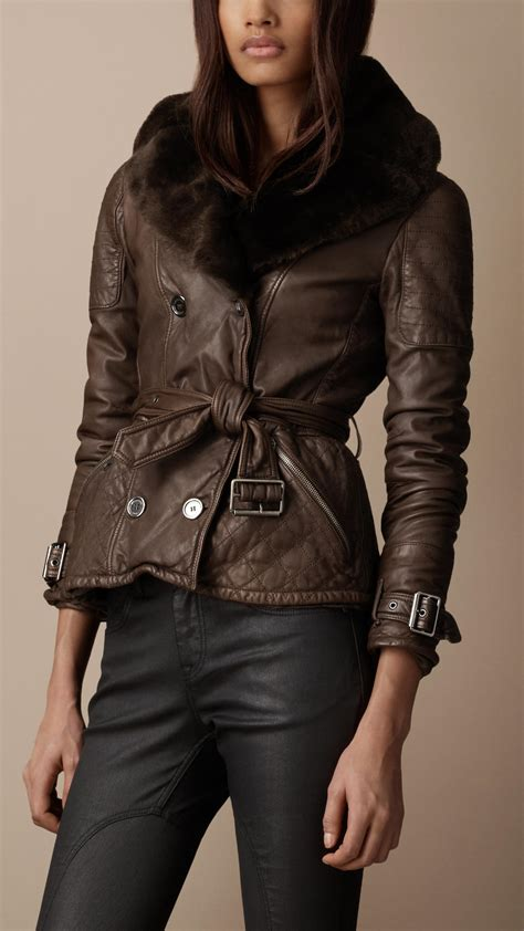 Burberry Leather Quilted Jacket by Burberry Brit Shearling Collar Quilted Leather Jacket In
