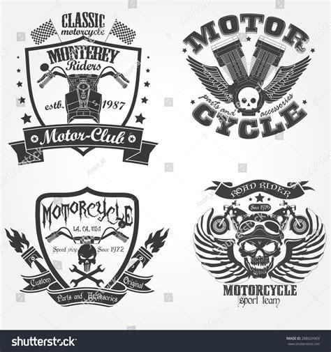vector motor layout motorcycle label set motor shop print stock vector