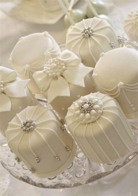 Studded Mini White Wedding Cakes   Wedding Cakes   Cream