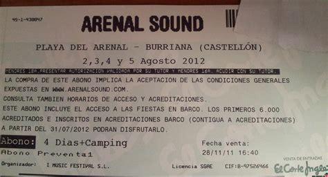 comprar entradas arenal vendo entrada arenal sound 65