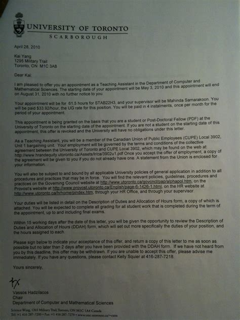 Kalamazoo College Acceptance Letter of toronto acceptance letter pictures to pin on