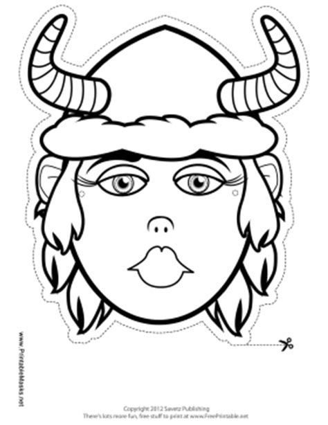 printable viking mask printable female viking with horns mask to color mask