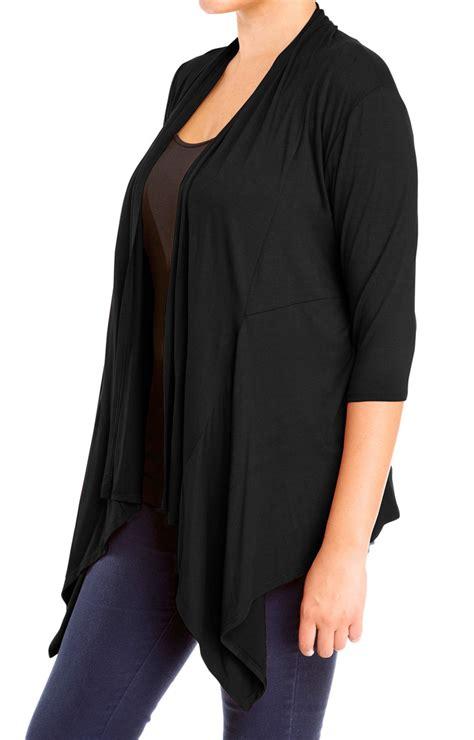 black drape front cardigan plus size longline drape front cardigan black evogues