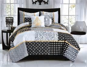 elegant black white dot scroll teen girl bedding twin