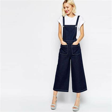 Wide Leg Dungaree wide leg and contrast stitching denim dungaree endource