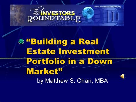 Mba Real Estate Finance And Investment by Building A Real Estate Investment Portfolio In A Market