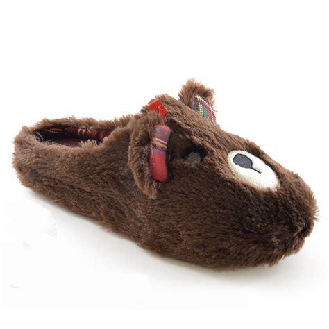animal slippers womens novelty plush tartan animal indoor house