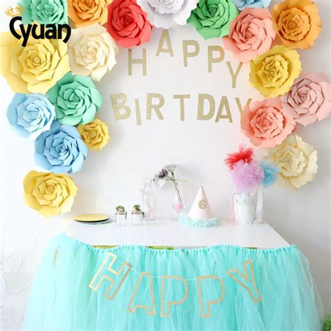 background decoration for birthday party at home cyuan 23pcs cute diy flower paper backdrop glitter happy