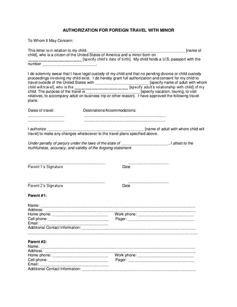 Authorization Letter For Minor Travel Canada authorization for foreign travel with minor hashdoc