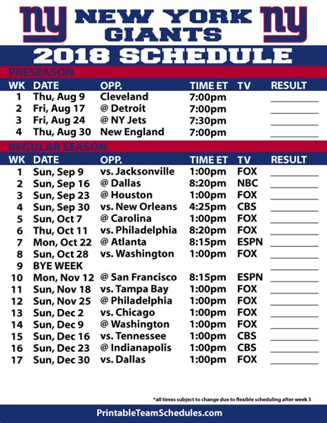 printable nfl giants schedule 2018 printable new york giants schedule