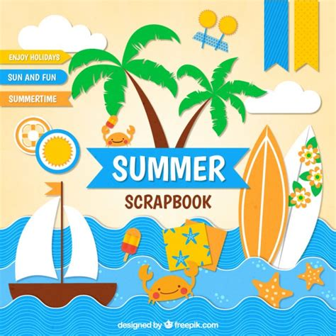 summer themes scrapbook for summer themes vector free download