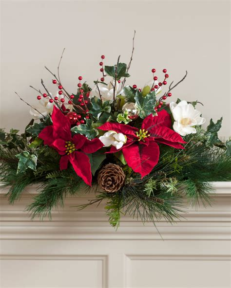 poinsettia magnolia silk holiday silk centerpiece at petals