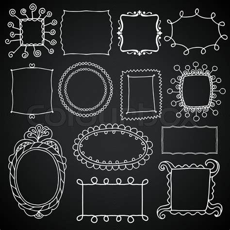 colour doodle drawing board vintage photo frames set chalkboard vector design