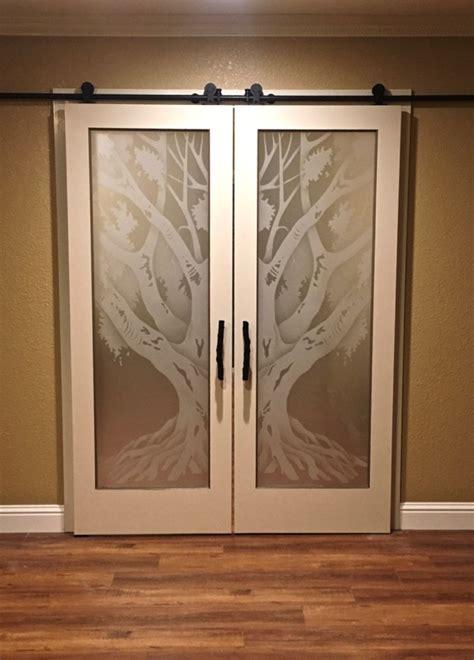 oak tree ii  private etched glass doors rustic decor
