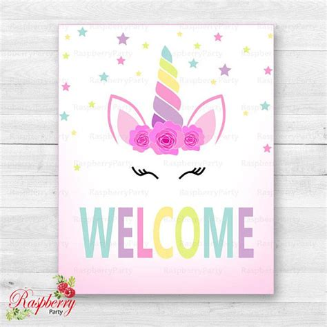 printable unicorn signs unicorn welcome sign unicorn sign welcome sign birthday