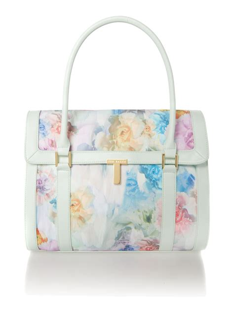 Ted Baker Canvas Printed Tote Bag ted baker large green print canvas tote bag in white