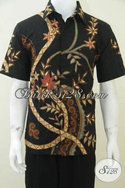 Koko Batik Elegan Mickot Hitam baju batik pria lengan pendek warna hitam elegan untuk