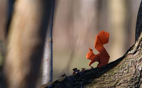 Origami In Nature - origami squirrel paper hd wallpapers desktop and