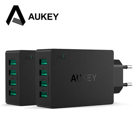 Travel Adapter Charger 5 Usb Ports 40w 8a aukey 40w 8a usb travel 4 ports usb wall charger adapter with iphone 6s 6s plus s6 android and