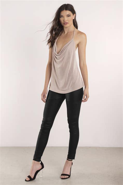 Blouse Jenifer taupe blouse cowl neck blouse beige blouse
