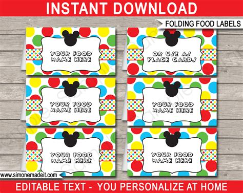 Mickey Mouse Place Card Template by Mickey Mouse Food Labels Place Cards Mickey