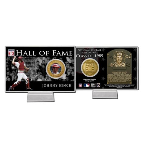 johnny bench hall of fame johnny bench hall of fame coin card pricefalls com