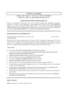 Exle Of Work Resume by Administration Resume Sle