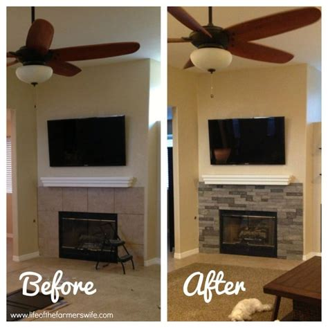 fireplace diy makeover updating a fireplace with airstone stacked