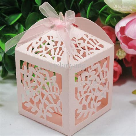 2018 Laser Cut Favor Candy Gift Boxes With Ribbon For