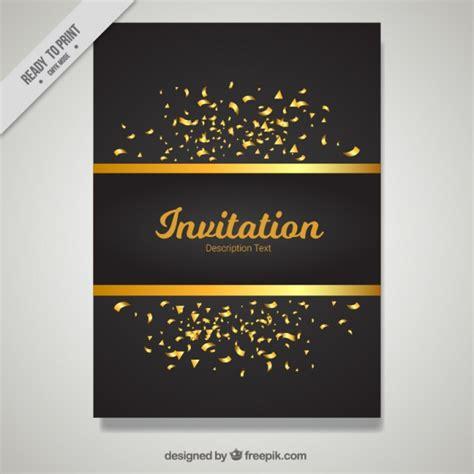 uitnodiging template gouden en zwarte uitnodiging template vector gratis