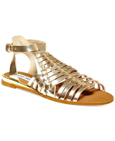 flat gladiator shoes lyst steve madden s comely flat gladiator sandals