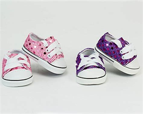 18 inch doll sequin tennis shoe set includes pink