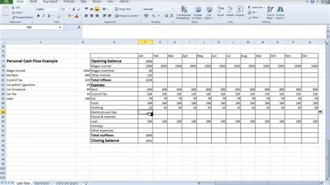 spreadsheet personal cash flow for students youtube