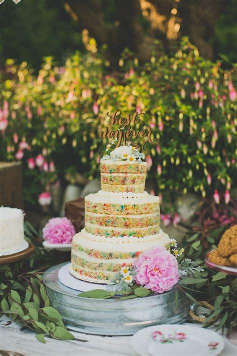 sweet tables main cake naked funfetti wedding cake  wedding pinterest wedding cake