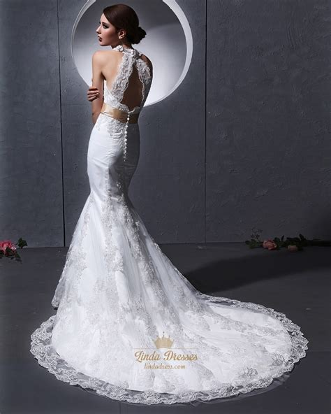 lace mermaid wedding dress ivory lace mermaid v neck lace chapel train keyhole back