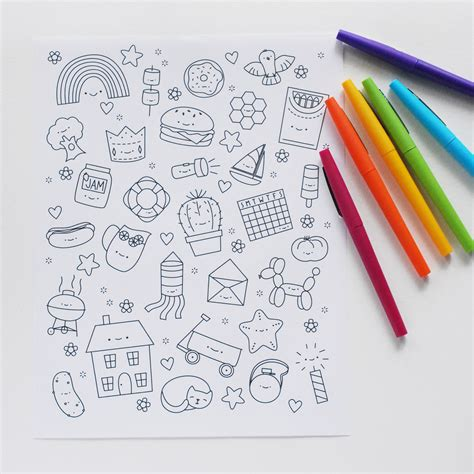 Wall Stickers Clouds hello wonderful free printable kawaii coloring page