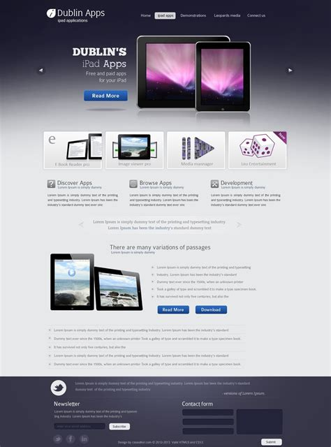 Iphone Web Design Template Professional Website Design Template For Ipad And Iphone Applications
