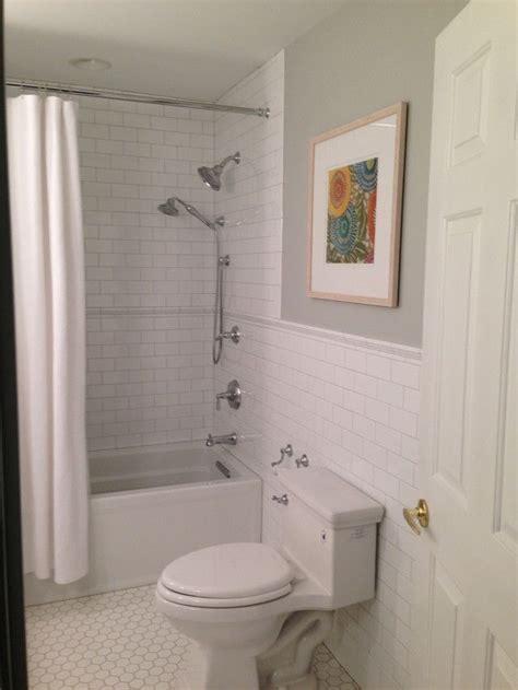 Subway tile wainscot transition   Design: Bath   Pinterest