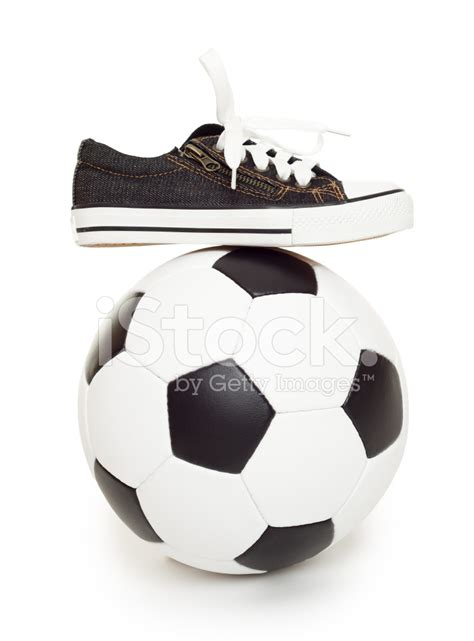 balls sports shoes soccer and sport shoes on white stock photos